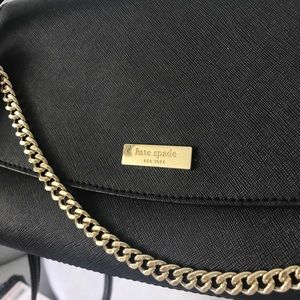 Black kate spade bag with gold chain